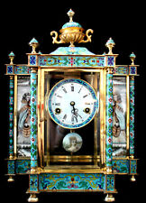 """18"""" H VINTAGE CHINESE CLOISONNE ENAMEL WIND UP 7 DAY CHIMING CLOCK"""