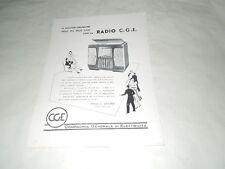 """PUBBLICITA' VINTAGE DEGLI ANNI '50- RADIOFONOGRAFO C.G.E. MOD. 897 """"CGE"""" IMPERD."""