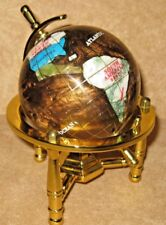 Multi-Gemstone 90mm Desktop Globe In Copper/ Brown Pearl on Gold Tone Base