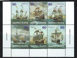 Marshall Islands  Sc 749a-f  Ships  Block of 6  Half Moon; La Grande Hermine etc