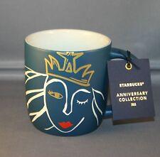 2016 starbucks anniversary crown siren mermaid blue 14 oz. mug NWT
