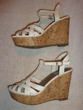 BRASH WHITE WEDGE SANDALS WOMEN'S SIZE 9    (4.5 INCH HEEL)