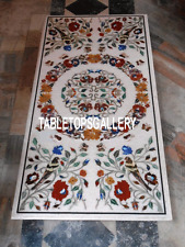 5'x3' Rectangle Marble Dining Table Top Inlay Merry Christmas Gift Decor H3231A