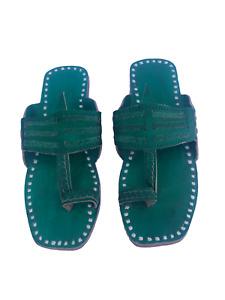 US 7 Womens kolhapuri green leather slippers