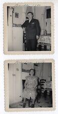 PHOTO ANCIENNE Lot 2 photos Portrait Inversé Homme Femme Vice Versa 1950 Cuisine