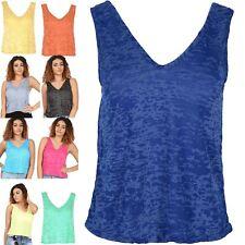 Womens Muscle Vest Ladies Burnout Plus Size Top V Neck Front V Back Tank UK 8-22