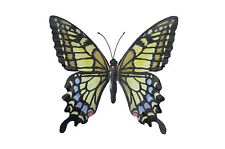 Large Metal Butterfly Yellow, Blue and Black Outdoor Garden Home Decor Wall Art