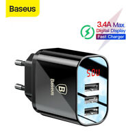 Baseus 3 USB Wall Charger LED Display Quick Charge Adapter for iPhone Samsung