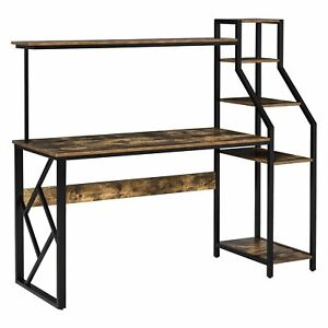 Industrial Style Office Desk Wooden Computer Table Storage Shelves PC Rack Brown
