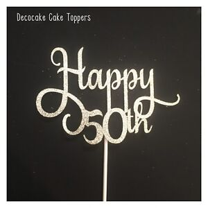 50th Birthday Cake Topper Chevron/ White Stick Australian Seller