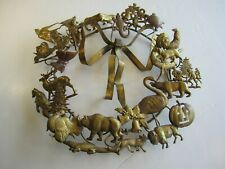Old Gold Colored Metal Holidays Decorative Wreath Animals Jack O'Lantern Etc.