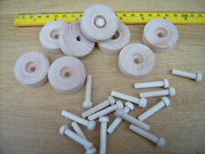 12x Wooden toy wheels + axles. Truck wheels 38mm 1 1/2""