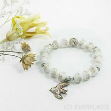 Handmade Beaded Bracelet White Oriental Flower Pattern Bird Charm