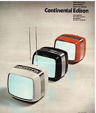 Publicité Advertising 1976 Télévision Téléviseurs Portable Continental Edison