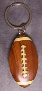 Intarsia Solid Wood Key Ring Sports Football NEW Natural Finish