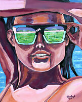 Beach BABE Fantasy Original Art PAINTING Artist DAN BYL Sexy Huge 5ft x 4ft