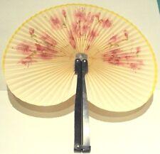Vintage Folding Fan Nort Korea D.P.R.K.Paper And Metal With Original Box # 741