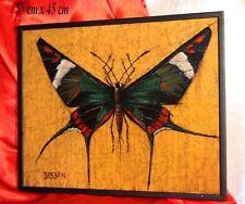 """Marcel Desban """"Papillon Exotique"""" Papillon d'Amazonie Lepidoptera Huile signée"""