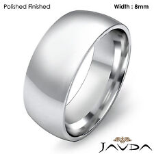 Dome Light Plain Ring Men High Polished Wedding Band 8mm Platinum 15.9g 11-11.75