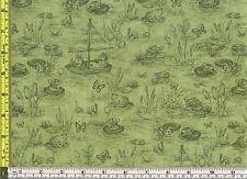 Susan Wheeler Green Toile Fun Sunny Pond 100% Cotton Fabric 1/4 yard 22.5 cm