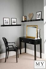 Chelsea Black Glass high gloss Mirrored furniture Dressing Console table 4 Legs