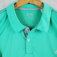 ADIDAS GOLF Size Large Mint Green Mens Golf Casual Polo Shirt Breathable Wicking