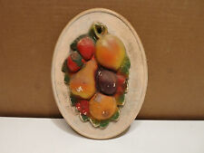 Vintage Fruit Chalk Ware Wall Plaque GREAT PATINA - SEE!
