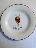 "Pottery Barn Reindeer REPLACEMENT 8.5"" Cocktail Plate  2003 VIXEN silver rim"