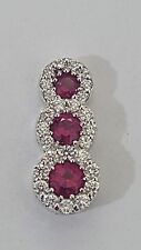 NECKLACE WITH PENDANT TRILOGY 18 CT WHITE GOLD DIAMONDS AND RUBIES NATURAL