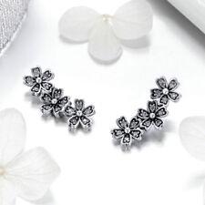 Fashion Beautiful 925 Sterling Daisy Flower Dazzling CZ Stud Earrings For Women