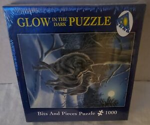 Bits And Pieces Glow In The Dark 1000 Pc Puzzle MOONWALK (Wolves) New Sealed
