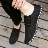British Mens Driving Mesh Breathable Summer Board Shoes Casual Lace Up Loafer