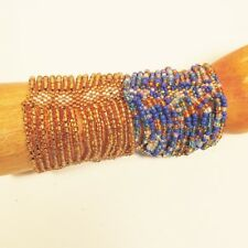 Set of 2 Blue Gold Multi Strand Handmade Cleo Stretch Seed Bead Bracelets