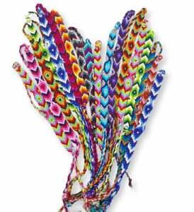 Woven Friendship Bracelets Wholesale Lot of 6 Cotton String Bands Party Favours