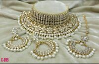 Indian Kundan Jewellery White Color Necklace Mang Tika  Earring Gold Plated Set