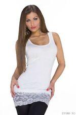 Maglie e camicie da donna elasticizzata bianca senza marca