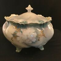 R & S Prussia Cracker Biscuit Jar With Green & White Floral Design Gold Accents