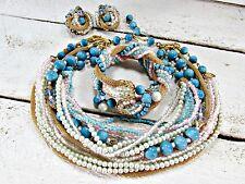 Vintage CORO Blue Beaded Gold Mesh Choker Necklace, Wrap Bracelet, Earrings Set