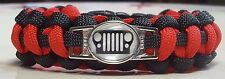 Jeep Life - Jeep Grill Logo; Red & Black or YOUR JEEP COLOR Paracord Bracelet