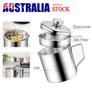 1.2L Stainless Steel Storage Keeper Filter Dripping Container Grease Oil Can Pot
