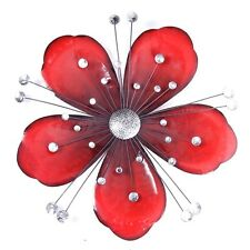 Stunning Large Red Flower with Clear Jewels  Metal Wall Art Decor