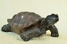 Stunning Hot Cast Bronze Lucky Tortoise Turtle Sculpture Mounted on Marble Base