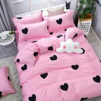 4PCS Leopard-print Pink Bedding Set Duvet Quilt Cover+Sheet+Pillow Cases  hot sz