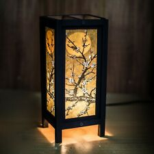 Asian/Thai Paper/Wood Bedside Table Lamp Sakura Moon White Plum Flower +LED bulb