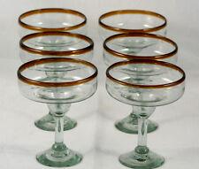 Amber Rim Margarita Glass Mexican Hand Blown Glasses Original Set 6 Mexico