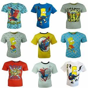 Boys Marvel Spiderman Ninja Turtles Bart Simpsons Gormiti Ben10 T-shirt