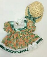 """Vintage Doll Clothes For Ginny Ginger Muffie Alex 8"""" Dress Hat Shoes Floral"""