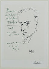 """Hommage au Poete Anotnio Machado"" by Picasso Signed Lithograph 9""x6 1/2"""