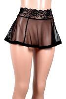 Black Mesh Mini Skirt XS - 3XL flared stretch lace sheer lingerie plus size goth