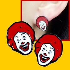Ronald McDonald Stud Earrings~Burger~Unusual Novelty Gift~Funny Birthday Present